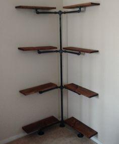Industrial Iron Pipe Corner Shelf
