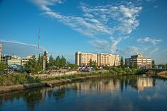 Downtown Fairbanks, Alaska is nestled along the banks of the Chena river and makes for a great location to enjoy those long summer days. Photo by Sherman Hogue/FCVB