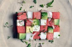 Summer watermelon salad - cubes of watermelon + avocado + feta + radish, topped with red onion, mint, and chives Watermelon And Feta, Watermelon Recipes, Avocado Recipes, Salad Recipes, Detox Recipes, Avocado Ideas, Avocado Dessert, Avocado Salad, Mint Salad
