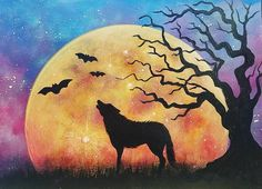 HALLOWEEN NIGHT SKY #Moon Rising with Wolf and Tree Silhouette Autumn Landscape ART ACRYLIC PAINTING TUTORIAL #halloween #acrylicpainting by #angelafineart on #YouTube LIVE 10/25/16 at 6pm CT