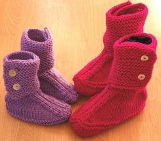 Knitting pattern for Slouch Slippers for the whole family - #ad These comfy slipper boots are knitted on two needles, so there's no knitting on the round required. Four sizes including Children aged 4-6, Children aged 8-10 , Women, and Men