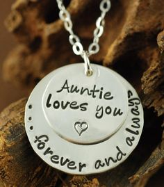Hand Stamped Necklace Aunt Necklace I love you by AnnieReh on Etsy, $52.00