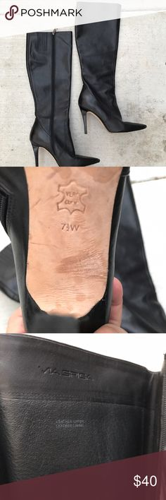 Via Spiga leather boots Beautiful Italian black leather boots . Great condition hardly no signs of wear n tear . Pointy toes and 2 1/2 inch heels Via Spiga Shoes Heeled Boots