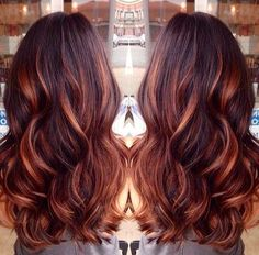 Dark Auburn Hair Color with Caramel Highlights