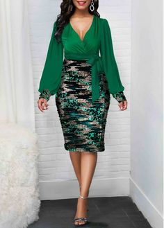 Sequin Detail Tie Side Plunging Neck Dress Women Clothes For Cheap, Collections, Styles Perfectly Fit You, Never Miss It! Streetwear Mode, Streetwear Fashion, Streetwear Summer, Women's Fashion Dresses, Casual Dresses, Modest Fashion, Patchwork Dress, Elegant Outfit, Look Fashion