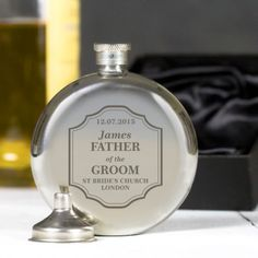Engraved Classic Wedding Round Hip Flask - Father of