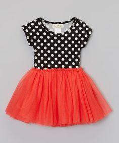 Loving this Taylor Joelle Designs Red & Black Polka Dot Dress - Toddler & Girls on #zulily! #zulilyfinds