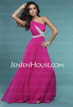 Evening Dresses - $115.49 - A-Line/Princess One-Shoulder Floor-Length Chiffon  Charmeuse Evening Dresses With Ruffle  Beading (017005592) http://jenjenhouse.com/A-line-Princess-One-shoulder-Floor-length-Chiffon--Charmeuse-Evening-Dresses-With-Ruffle--Beading-017005592-g5592