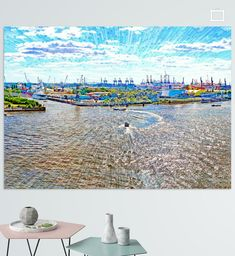 Elbe und Hafen in Hamburg Poster - Leopold Brix Hamburg Poster, Hamburger, Illustration, City Photo, Pictures, Printing On Wood, Artist Canvas, Digital Art, Illustrations