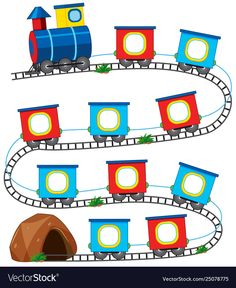 A train game template Royalty Free Vector Image Kids Learning Activities, Preschool Worksheets, Preschool Activities, School Frame, Kindergarten Math, Kids Education, Classroom Decor, Vector Free, Crafts For Kids