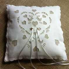Ring pillow wedding ring cushion linen and by BaloolahBunting on Etsy