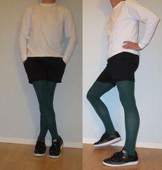 Men In Stockings, Winter Tights, Mens Tights, Opaque Tights, High Fashion, Street Fashion, Tight Leggings, Leggings Fashion, Shorts