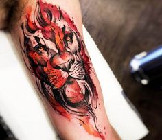 Watercolor Lion tattoo by Felipe Rodrigues