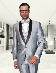 ROME SILVER 3PC 1 BUTTON MENS SUIT WITH SATIN COLLAR AND TRIM ON THE POCKET WITH FANCY WOVEN VEST SET