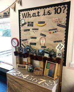 "missemma_earlyyears My ""Maths Area"" ➕➖➗ Focusing on many different ways to represent 10 using concrete and abstract resources. I've also been thrilled with how much the children have engaged with the clock by simply having it at child height! Working Wall Display, Maths Working Wall, Math Wall, Maths Eyfs, Eyfs Classroom, Classroom Ideas, Teaching Displays, Classroom Displays, Numbers Preschool"