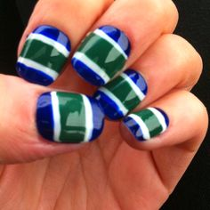 Vancouver Canucks nails, but in Wild or Blackhawks colors Vancouver Canucks, Winter Nail Art, Winter Nails, Fancy Nails, Cute Nails, Hockey Nails, Nhl, Hair And Nails, My Nails