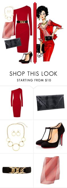 """""""Red Dress: Desk to Dinner"""" by shoppe23online on Polyvore featuring Donna Karan, Christian Louboutin, Forever 21, Xhilaration, women's clothing, women, female, woman, misses and juniors"""
