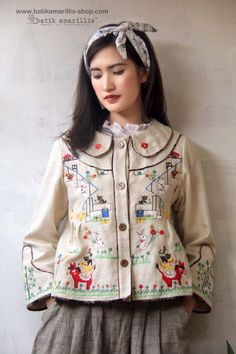 <3 batik amarillis's west and girl  embridery jacket<3 ...The western inspired is true staples that will suit and easily combined with your other outfits!. This American west yoked outfit style with adorable characters from November Books series from Japan, you can meet bunch of cute animals such as bunnies, ducks, dog, cat, donkey, rooster, owls and more!