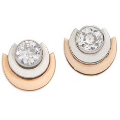 1930s Diamond Gold Platinum Semicircle Stud Earrings. A pair of old European cut Diamonds totaling approximately 2 carats, of approximately I to J color and I clarity are mounted in platinum and 18 karat rose gold mountings.