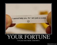 Confucius say: you who put faith in cookie, is IDIOT! Just Deal With It, My Love, Confucius Say, Demotivational Posters, Quitting Your Job, Facebook Humor, Fortune Cookie, Business Motivation, Funny Images