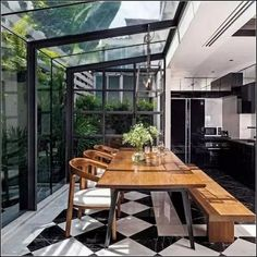 Stunning kitchen/dining space with glazed walls and ceiling. Black and white til. - Stunning kitchen/dining space with glazed walls and ceiling. Black and white tiles. Black kitchen c - Sweet Home, Glazed Walls, Scandinavian Apartment, Scandinavian House, Scandinavian Design, House Extensions, Kitchen Extensions, Küchen Design, Design Ideas
