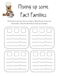 Fun in First Grade: fact families - use in journal or math station