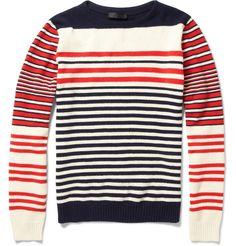 Chalet de ski 1970! Alexander McQueen striped cotton/cashmere jumper s/s 2012