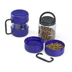 Pet Travel-Tainer...Food and Water bowls, plus food storage. Great for in the car/road trips. Container Store $14.99