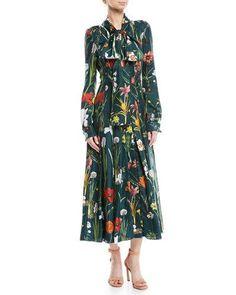 486367f442e3a3 Oscar de la Renta Tie-Neck Button-Front Long-Sleeve Garden-Print Long Silk  Dress