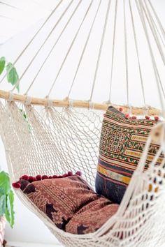 non-perishable goods / sfgirlbybay boho/ southwest rope hammock Deco Ethnic Chic, Deco Boheme Chic, Apartment Balcony Garden, Apartment Balconies, Hammock Swing, Hammock Chair, Hammocks, Bedroom Hammock, Swinging Chair