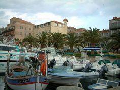 Propriano: Port et ses bateaux, alignement de palmiers et maisons de la station balnéaire - France-Voyage.com