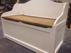 HANDMADE SOLID WOODEN PINE SEATED WINDOW BOX / TOY BOX / OTTOMAN
