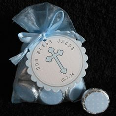 Personalized Hershey Kiss Baptism Favor Set, Christening Favor Set, Communion Favor Set, blue cross on white, blue organza bags, set of 20