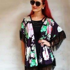 Kimono Purpura e Preto com Franjas