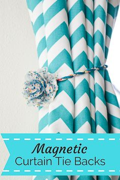These magnetic curtain tie backs are easy to make and fun to customize to fit your decor. Perfect for renters who can't put holes in the wall for curtain hooks!