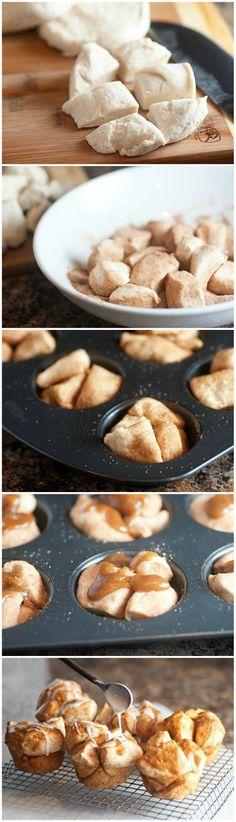 Caramel Monkey Bread Muffins w/ Icing