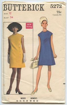 1960's Butterick 5272 A Line Dress with Jewel Neckline and Button Trim Vintage Sewing Pattern Bust 34 UNCUT Factory Folded