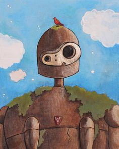 Laputa: Castle in the Sky Robot Acrylic Painting on Wood Panel (8x10)