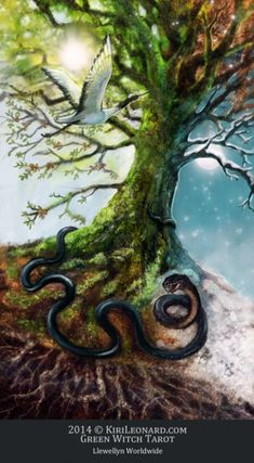 The World Tree (The World) - Green Witch Tarot  --  If you love Tarot, visit me at www.WhiteRabbitTarot.com