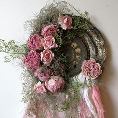 Romantic pink dried peony wall hanging shabby by AnitaSperoDesign