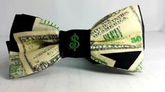 Novelty The Money Tie - Dollars Theme Bowtie  / Unisex Bow Tie Enterpreneur, Dollar Sign Embroidery