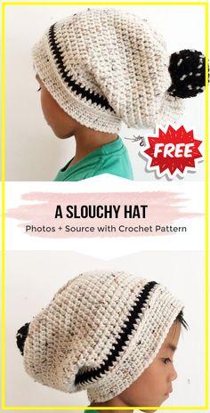 Crochet A Slouchy Hat FREE Pattern - easy crochet Hat pattern for beginners Easy Crochet Hat Patterns, Loom Knitting Patterns, Free Crochet, Knitting Tutorials, Crochet Granny, Stitch Patterns, Crochet Afgans, Quick Crochet, Crochet Slouchy Hat