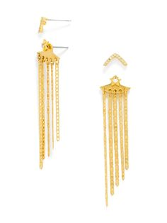 Long, asymmetrical gold fringe is stunning as a jacket, paired with two pairs of chic, crystal-touched studs to mix and match. #baublebar #swatstyle #earrings