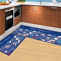 Best Kictchen Rugs | DeMissir Nonslip 2pcs Set Kitchen Rugs Bedroom Doormat  40x60cm40x120cm Dark Blue *
