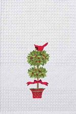 """Christmas Holiday Topiary Tree & Red Cardinal Kitchen Towel 18"""" x 27"""""""