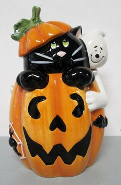 "David's Cookies Halloween Ceramic Cookie Jar 11"" Black Cat Pumpkin Ghost | eBay"