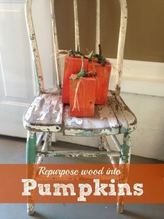 Turn a piece of scrap wood into these cute wood pumpkin decorations for your home! Easy craft.