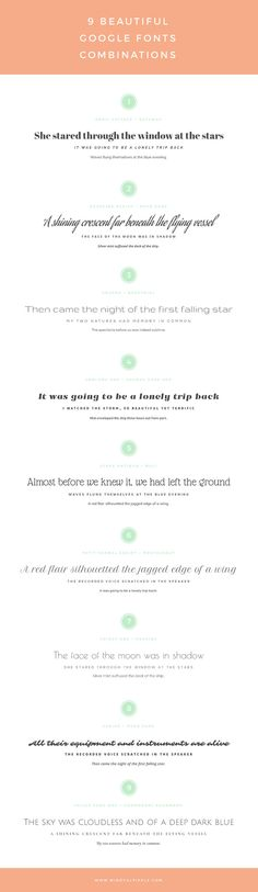 Just before signing off for the Easter weekend,I'd like to give you 9  beautiful Google Fonts combinationsand help you get ready for your  post-holiday creative work.