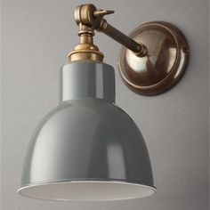 Traditional Adjustable Churchill Grey Spotlight Wall Light - Brass