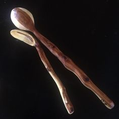 I carved these two juniper spoons at winter camp this year. #handcarved #axeandknife #woodenspoon #treen